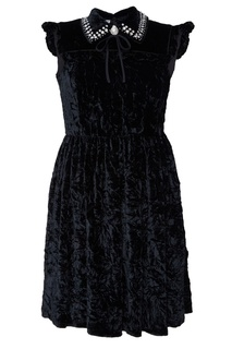 Черное платье с отделкой кристаллами Miu Miu