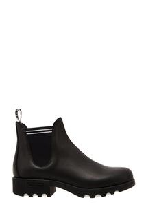 Черные кожаные ботинки Miu Miu