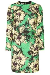 Зеленое платье с цветочным принтом Miu Miu