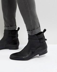 Черные кожаные ботинки челси с заклепками HUGO Cult - Черный