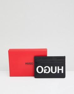 Черная кожаная визитница с логотипом HUGO - Черный