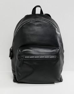 Черный кожаный рюкзак с логотипом и молнией HUGO National - Черный