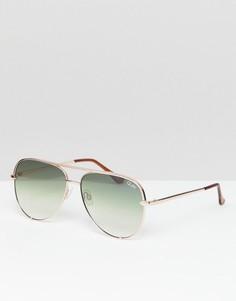 Солнцезащитные очки-авиаторы с зелеными стеклами Quay Australia X Desi High Key - Розовый