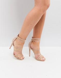 Босоножки на каблуке с ремешками и сеткой Public Desire - Бежевый
