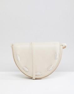 Полукруглая сумка через плечо Liquorish - Кремовый