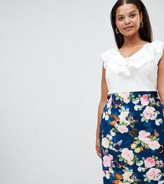 Платье-футляр 2 в 1 с принтом и оборками Paper Dolls Plus - Мульти
