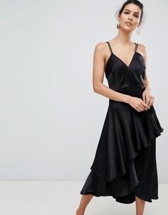 Платье на бретельках с оборкой Y.A.S - Черный