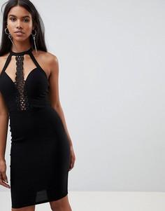 Платье миди на бретельках с кружевной отделкой Rare London - Черный