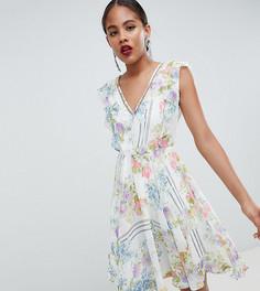 Платье мини с открытой спиной и цветочным принтом ASOS DESIGN Tall - Мульти