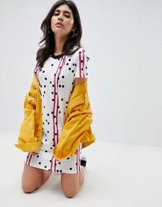 Платье-футболка с принтом в горошек и полоску Noisy May - Белый