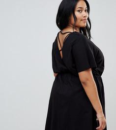 Свободное меланжевое платье с перекрестными бретелями на спине ASOS DESIGN Curve - Черный