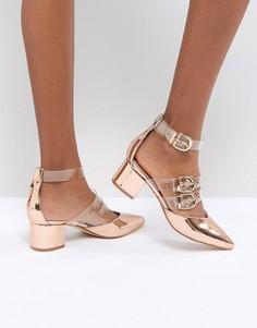 Золотисто-розовые туфли на каблуке RAID Carmel - Золотой