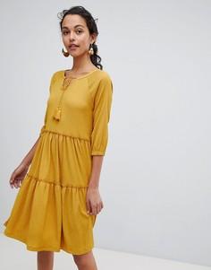 Свободное ярусное платье Esprit - Желтый