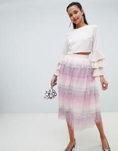 Многоярусная юбка миди Chi Chi London - Мульти