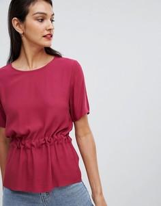 Блузка со сборками на талии Selected Femme - Красный