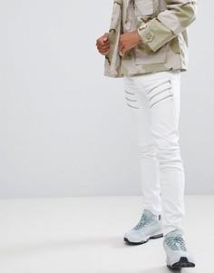 Байкерские джинсы скинни с прорехами Sixth June - Белый