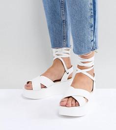 Белые сандалии на платформе для широкой стопы с завязками RAID Alma - Белый