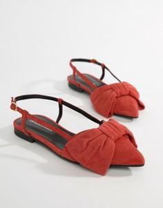 Замшевые сандалии с бантом и ремешком через пятку Custommade - Красный