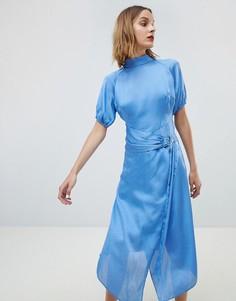 Атласное платье миди с вырезом под горло и поясом Lost Ink - Синий