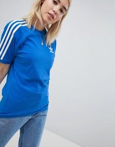 Голубая футболка с 3 полосками adidas Originals - Синий
