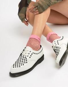 Белые кожаные туфли на плоской подошве с заклепками Dr.Martens - Белый