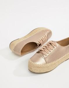 Кроссовки на соломенной платформе цвета металлик Glamorous - Золотой