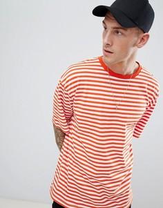 Свободная футболка в оранжевую полоску boohooMAN - Оранжевый