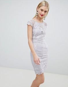 Кружевное облегающее платье с вышивкой Lipsy - Серый