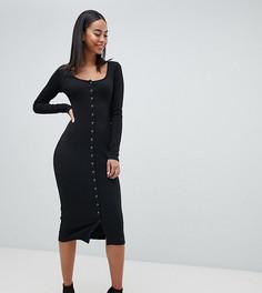 Платье миди на пуговицах Missguided Tall - Черный