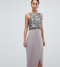 Платье-футляр с декоративной отделкой и бахромой ASOS DESIGN Tall - Серый