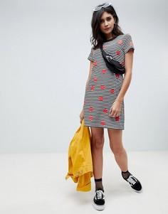 Платье-футболка в горошек и полоску Noisy May - Черный