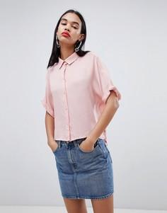 Бледно-розовая рубашка с широким воротником Weekday - Розовый