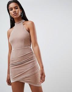 32320faf8ed Бархатное платье мини с американской проймой Rare London - Кремовый
