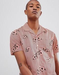 Коралловая рубашка с цветочным принтом HUF Delsur - Розовый
