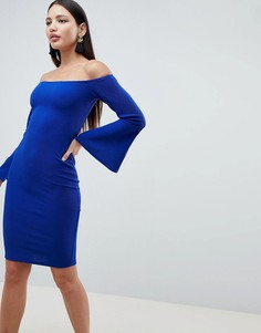 Платье миди с рукавами клеш AX Paris - Синий