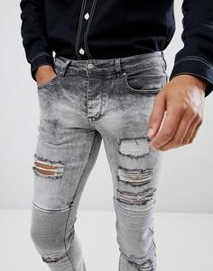 Рваные джинсы скинни с байкерской отделкой Sixth June - Серый