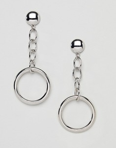 Серебристые серьги-подвески Missguided - Серебряный