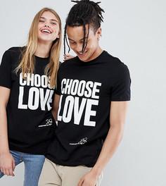 Черная футболка из органического хлопка с принтом Choose Love Help Refugees - Черный