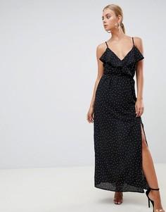 Платье макси в горошек с разрезом Missguided - Черный