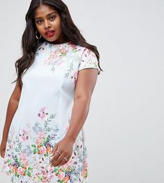 Платье мини А-силуэта с цветочным принтом ASOS DESIGN Curve - Мульти