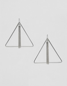 Серебристые серьги с цепочками Missguided - Серебряный