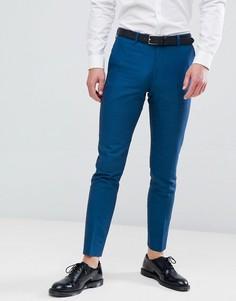 Синие зауженные брюки с добавлением льна Moss London - Синий