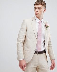 Льняной пиджак приталенного кроя Moss London - Бежевый