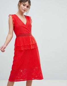 Кружевное платье миди Liquorish - Красный