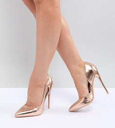 Золотистые туфли-лодочки для широкой стопы Lost Ink - Золотой