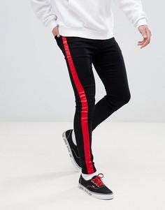 Черные джинсы скинни с красными полосами по бокам Sixth June - Черный
