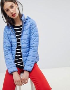 Короткая стеганая куртка с капюшоном Esprit - Синий