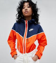 Темно-синяя ветровка в стиле колор блок с оранжевыми полосами Nike - Оранжевый