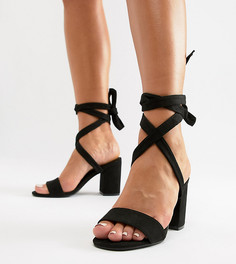 Босоножки для широкой стопы на блочном каблуке с завязками Parklane - Черный