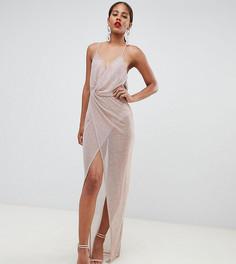 Платье макси с эффектом металлик ASOS DESIGN Tall - Серебряный